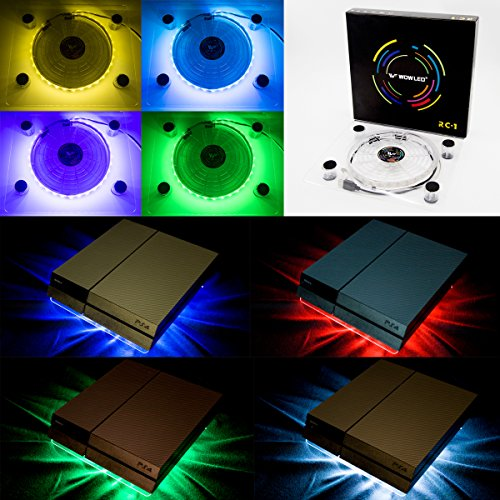 wowled RGB LED USB Enfriador Ventilador FAN Soporte PS4 Playstation 4 accesorios with Mini...