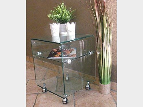 Beistelltisch Glastisch auf Rollen modernes Design gebogenes Glas -