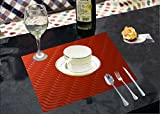 Kuber Industries Pvc Dining Table Placemats / Multi Purpose Mats Set Of 6 Pcs (Red)