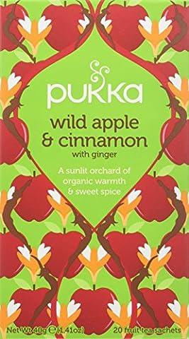 Pukka Wild Apple Cinnamon and Ginger Tea Bags (Pack of 4, Total 80 Teabags)