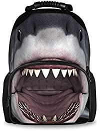 """Preisvergleich für Farbenfrohe 3D Tiere Zoo Rucksäcke für Kinder Schule Buch Taschen Haifisch Large(17.3"""" H x 12.2"""" L x 7.6"""" W)"""