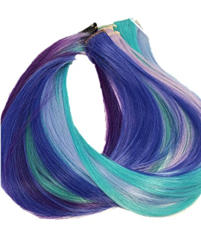Prettyland - GHW08 Set de 12 Extensions multicolores Clips-in Rajouts 50 cm de long Soirées de folie - set 2