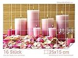 Graz Design 761370_25x15_60 Fliesenaufkleber Kerzen/Massageöl/Rosen | Bad-Fliesen mit Fliesenbildern überkleben (Fliesenmaß: 25x15cm (BxH)//Bild: 90x60cm (BxH))