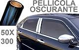 ROTOLO PELLICOLA OSCURANTE ANTI SOLE PER FINESTRE E VETRI DI AUTO PARASOLE CASA UFFICIO SCURA 300X50