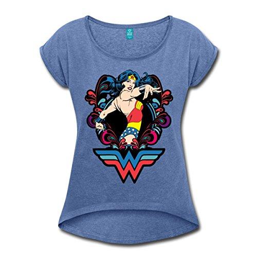 Spreadshirt DC Comics Wonder Woman Pose T-Shirt à Manches Retroussées Femme, M, Bleu Jeans Chiné