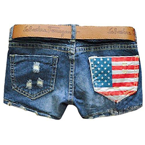 Denim Shorts,Sondereu Damen niedrige-Taillen Jeans Beunruhigte Lochjeans kurz amerikanische Flagge Hose S (Taille Niedrige Jeans)