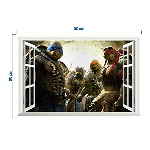 XLUIN Wandtattoos & Wandbilder 3D Wandaufkleber, Selbstklebender Dreidimensionaler Aufkleber Der Ninja-Schildkröte, Kunstwandbild Der Schlafzimmerwohnzimmerkinder, Ninja Turtle 50 * 70Cm