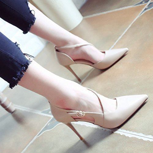 SHOESHAOGE One Word Buckle Side Empty Spring Tip Light Mouth Fine Heel Heels Shoes Female Fashion Princess Shoes...