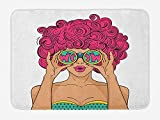 PdGAmats Curly Hair Bath Mat, Wow Face Funky Sexy Woman Funny Glasses Comic Hippie Fashion Kitsch Cartoon 23.6 X 15.7 inches, Multicolor
