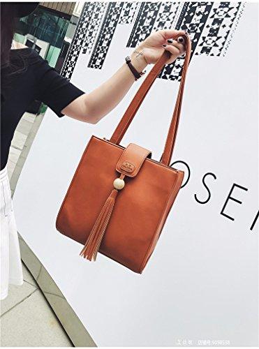 Die Neue Koreanische Mode Handtaschen Retro - Casual Tassel Handtasche Umhängetasche Alle Mit Einfachen Charakter,Gray gelb
