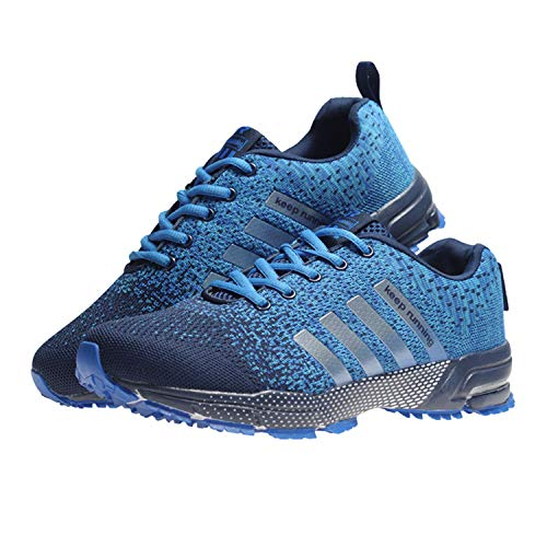 Fashion Casual Shoes Men Trainers Weaving Sneaker Women Breathable Mesh Shoes Lace Up Flats Tide Male Stretch Plus Size 35-48 Blue 6.5