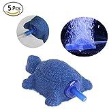 Jiamins - Juego de 5 difusores de piedra de aire con forma de tortuga para acuario, pecera, aireador, bomba de oxígeno, decoración
