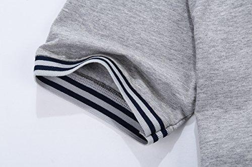 Glestore Herren T-Shirt Einfarbig Poloshirt Baumwolle S-XL 01Grau
