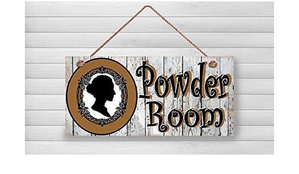 Cartello Da Appendere In Bagno : Norma lily powder room legno segni polvere decorazione della stanza