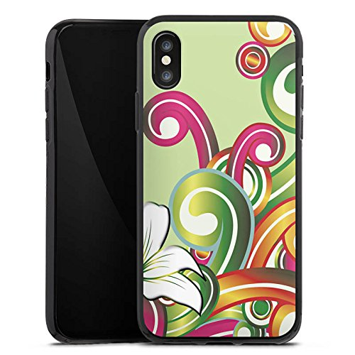 Apple iPhone X Silikon Hülle Case Schutzhülle Blume Blumenmuster Floral Silikon Case schwarz