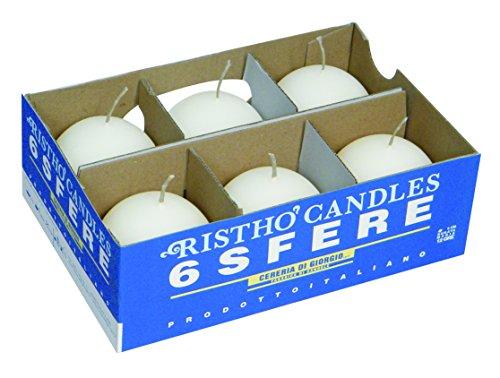 velas bola, cera, blanco, 6x 6x 6cm, 6unidad