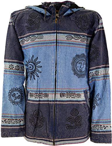 Guru-Shop Goa Jacke, Ethno Kapuzen Jacke, Herren, Blau, Size:XL, Jacken, Ponchos Alternative Bekleidung