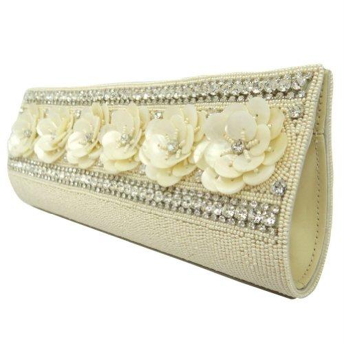 Beige Kunstleder Kupplung Frauen Brautparteihandtasche Perlen Strass Handtasche Beige