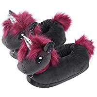corimori 1847 (Various Animal Designs) Animal Shaped Plush Booties, Carpet Slippers, Ruby the Punk-Unicorn, Black-Pink, Kids  UK 8-1