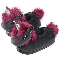 corimori 1847 (Various Animal Designs) Animal Shaped Plush Booties, Carpet Slippers, Ruby the Punk-Unicorn, Black-Pink, Kids  UK 8-1
