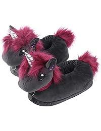 corimori Ruby el Unicornio Punk Zapatillas De Casa Niños (10 + Modelos) Talla Única 25-33,5, Color Negro-Rosa (1847)