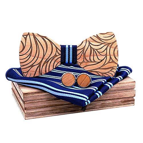 FIRSS-Jungen Herren Fliege Handmade Geprägte Walnut Wood Fliege Schleife klassische Einstecktuch Brosche und Manschettenknöpfe Set Lässige Krawatte für Herrenmode Hochzeit Party Abschlussball