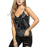 Islander Fashions Femmes sans Manches Strappy Wet Look Gilet Camisole en PVC Top Ladies Fancy Shinny Gilet Top Noir Medium/Large
