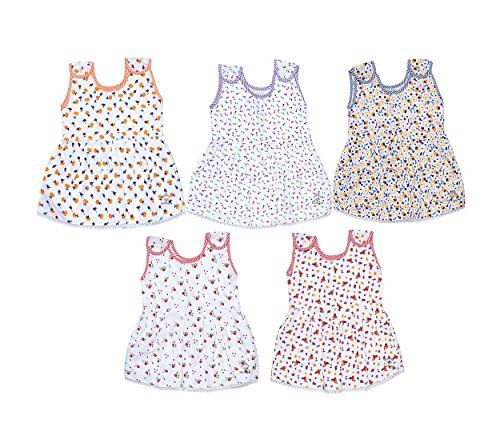 Sathiyas Baby Girls Gathered Dresses (Pack of 5) (6-12 Months)