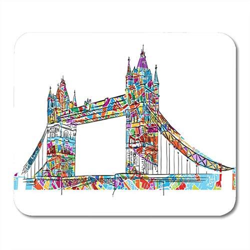 Mauspads Anziehungskraft-Karte Farbige London Tower Bridge Symbol-Entwurfs-Architektur-Mausunterlage für Notizbücher, Tischrechnermatten Bürozubehöre 10x12 Zoll