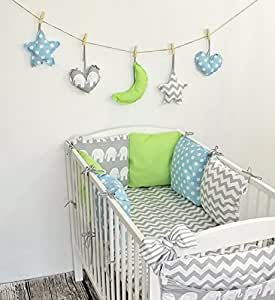 baby nestchen bettumrandung 210 cm design21 bettnestchen kantenschutz kopfschutz f r babybett. Black Bedroom Furniture Sets. Home Design Ideas