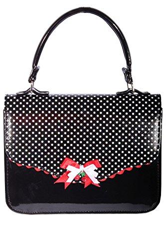 SugarShock Damen vintage Polka Dots retro rockabilly Tasche BOW Cherry LACK Handtasche -