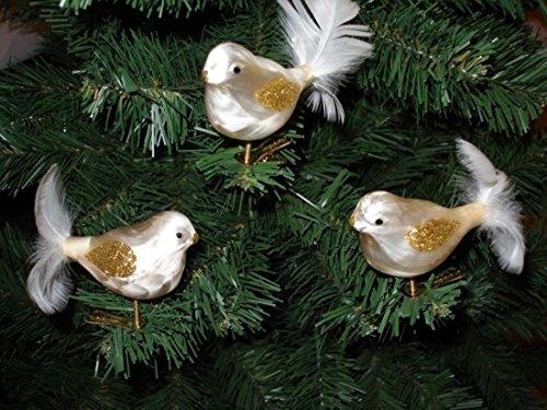 """3 tlg. Glas Vogel Set in """"Ice Champagner Gold"""" - Christbaumkugeln - Weihnachtsschmuck-Christbaumschmuck"""