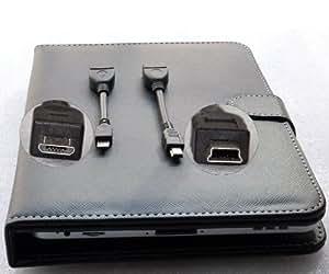 """Afunta (tm) 7 Support tablette """"avec le clavier USB - Noir Cuir Faux étui avec Free-Micro USB Câble OTG et mini USB OTG Câble"""