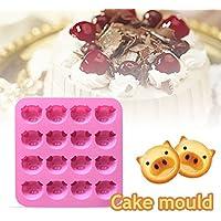 Ndier Silikon-Kuchenform Schweinekopf Form Muffin Form 16 Mulden Schokolade Geb/äck Muffin Form zuf/ällige Farbe