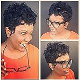 RUISENNA Afro Court Perruques De Cheveux Bouclés Pour Les Femmes Noires Synthétiques Cheveux Crépus Noir Résistance À La Chaleur Fibres 100g