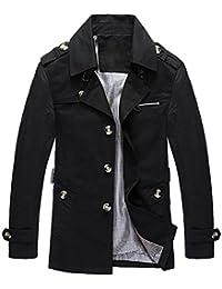 Mochoose Trench Coton Blouson Classique Col à Revers Veste Bouton Manteau Manches Longues Homme