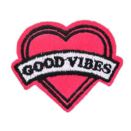 souarts-fushcia-good-vibes-heart-shaped-embroidered-sew-iron-on-applique-patches-pack-of-15pcs