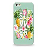 Coque iphone 5 5S Se Summer Ananas Tropical Jungle Fleur Rose