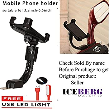 ICEBERG MAKERS.IN 360 Degree Rotation Universal Motorbike Holder Rearview Mirror Mount Stand for All Mobile ( Required to Attaches securely and directly just below the side viewing mirror with screw size max 10mm)