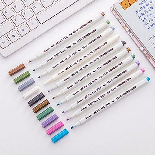 10 Farben Metallic Pinsel Marker Pen Set, Metallic Farbe Marker für Rock Keramik Malerei, Glas, Kunststoff, Fotoalbum, Becher, Kartenherstellung