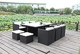 Polyrattan Esstischgruppe Gartengarnitur Honolulu XL (Schwarz)