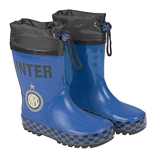 PERLETTI FC Internazionale Rain Boots for Kids - Inter Milano Rubber Waterproof Wellies with Anti Slip Outsole - Black and Blue Wellington
