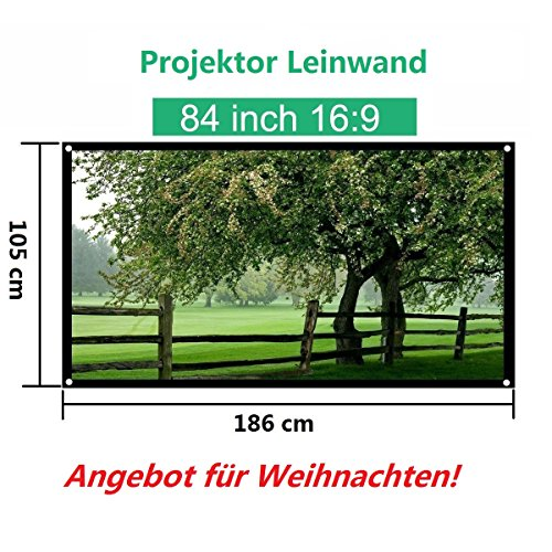 Mileagea Beamer Leinwand | tragbare Rolloleinwand | abziehbare Projektionsleinwand | Vollmaskierung | Format 84'', 16:9, 186x105cm | Rahmenleinwand