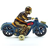 MagiDeal Wind Up Man Riding Motorcycle Clockwork Metal Tin Toys Collectible