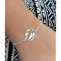 Bracelet argent 925 couple d'éléphants - Bracelet original - Savane d'Afrique - Maman et bébé - Bijou nature - Animaux sauvages - Bijou Mignon