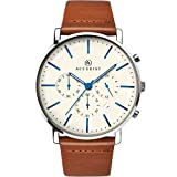 Accurist Gents Analogue Chronograph Watch With White Dial And Brown Leather Strap 7169