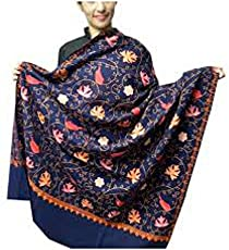 Varun Cloth House Women's Woollen Aari Zaal Full Work Kashmiri Shawl, Free Size(Blue, vch266)