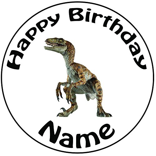 ociraptor Dinosaurier Zuckerguss Kuchen Topper / Kuchendekoration - 20 cm Großer Kreis - Jeder Name Und Jedes Alter (Dinosaurier-cake-pops)