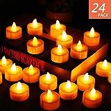 LED-Teelichter, 24Stück, batteriebetriebene Kerzen, plastik, cremefarben, LED Tea Light, 2G11 0.30volts