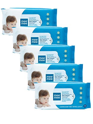 Mee Mee Caring Baby Wet Wipes, Lemon Fragrance (72 Pieces)(Pack of 5)  available at amazon for Rs.495